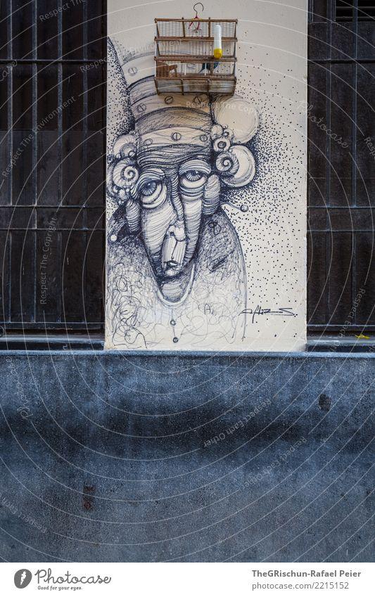Strassenkunst Kunst Künstler Maler Vogel blau grau schwarz silber weiß Wand malen Gemälde Kuba Vogelkäfig gefangen Weiblicher Senior Mauer bemalt ästhetisch