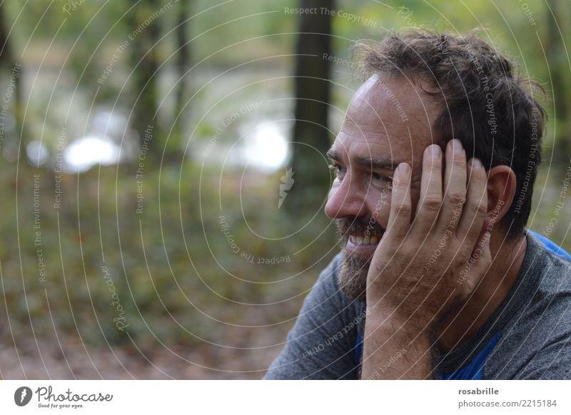 Auszeit im Park Freizeit & Hobby Ausflug Freiheit Mensch maskulin Mann Erwachsene 1 45-60 Jahre Umwelt Natur Landschaft Baum Sträucher Wald Seeufer T-Shirt
