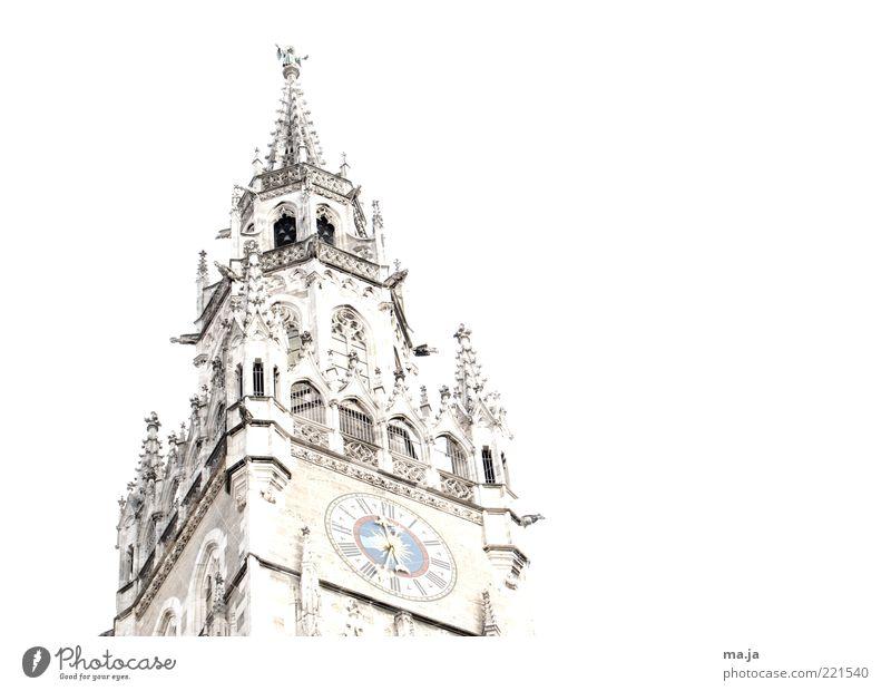 München Rathaus ( 2) alt weiß Architektur Gebäude Deutschland gold Uhr Europa Turm historisch Zifferblatt Wahrzeichen Sehenswürdigkeit Bildausschnitt