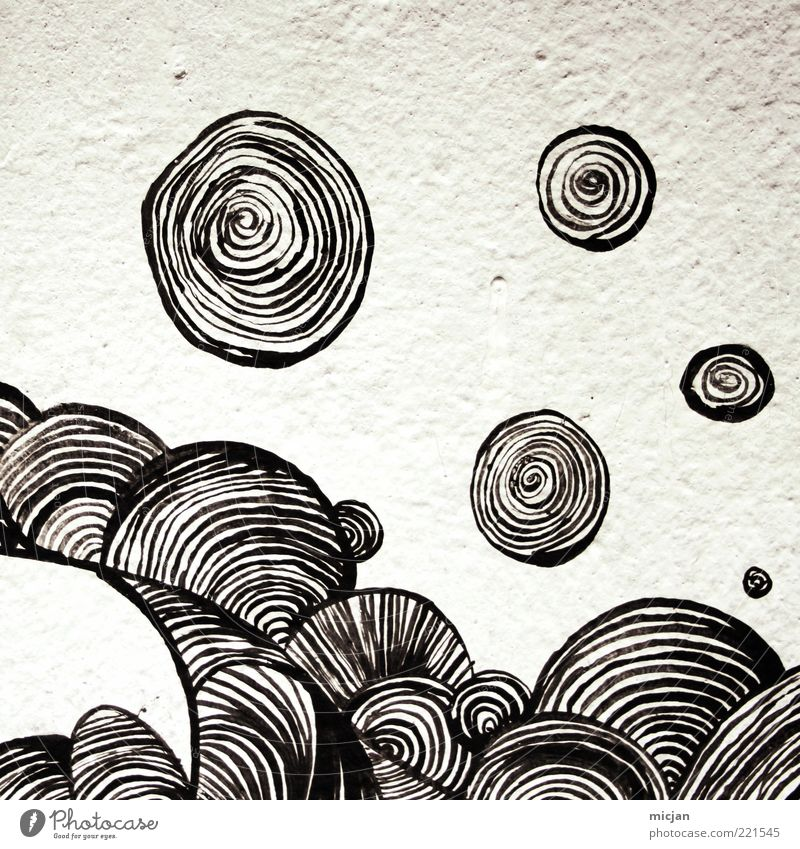 Gyro  Magnetic World weiß schwarz Wand Bewegung Freiheit Graffiti Kunst abstrakt Design Schwarzweißfoto Beton Kreis ästhetisch Ball rund weich