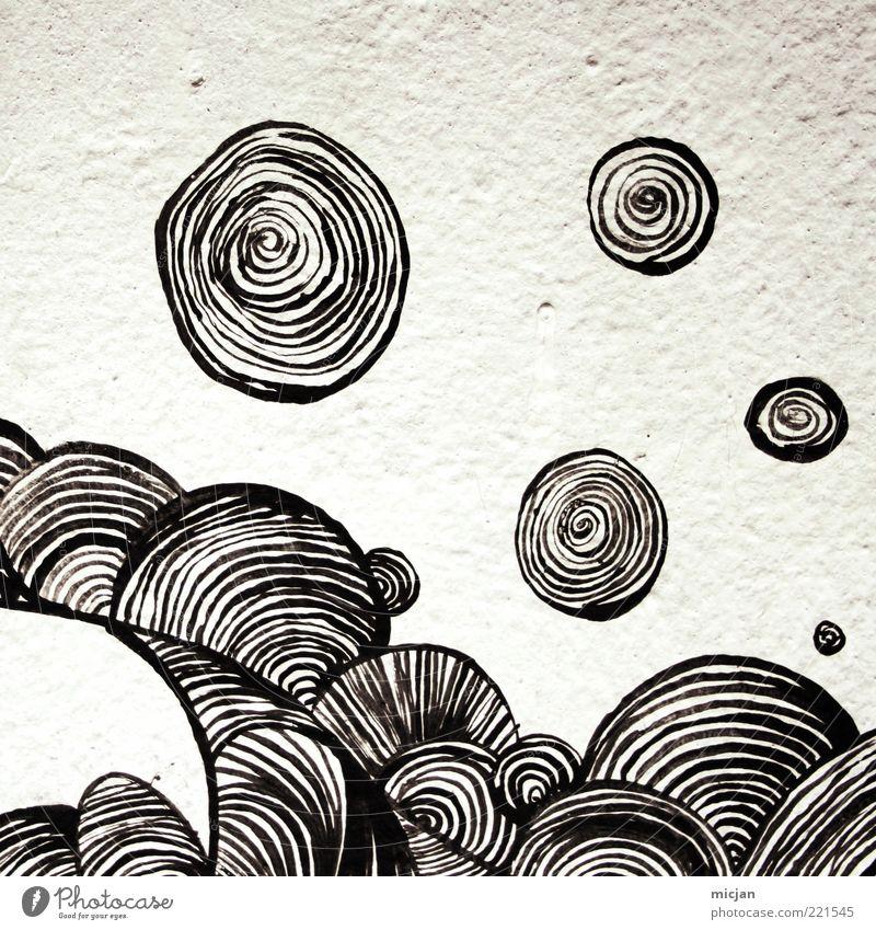 Gyro |Magnetic World weiß schwarz Wand Bewegung Freiheit Graffiti Kunst abstrakt Design Schwarzweißfoto Beton Kreis ästhetisch Ball rund weich