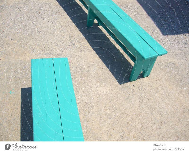 Du ... grün ruhig Einsamkeit Zusammensein leer Hoffnung ästhetisch Kommunizieren Bank einfach ohne türkis Örtlichkeit Vorfreude begegnen Holzbank