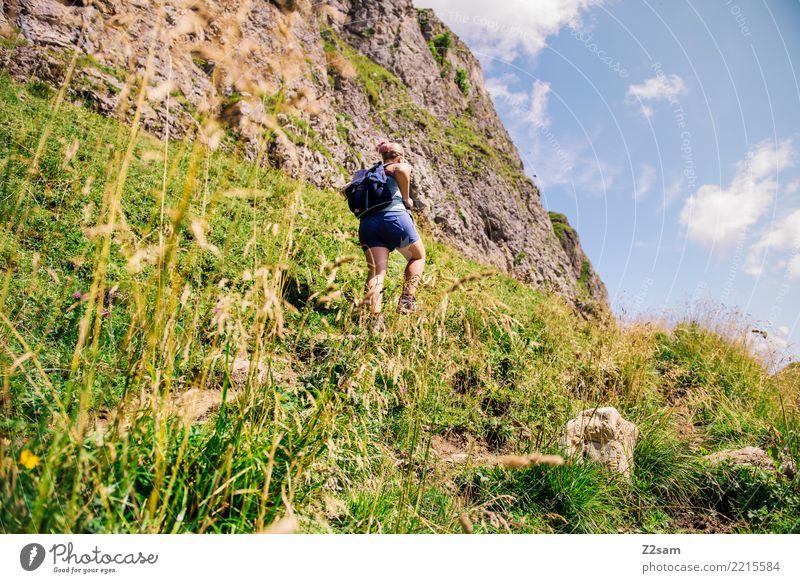 Aufstieg in oberbayerischen Alpen Berge u. Gebirge wandern Junge Frau Jugendliche 30-45 Jahre Erwachsene Natur Landschaft Sommer Schönes Wetter Sträucher