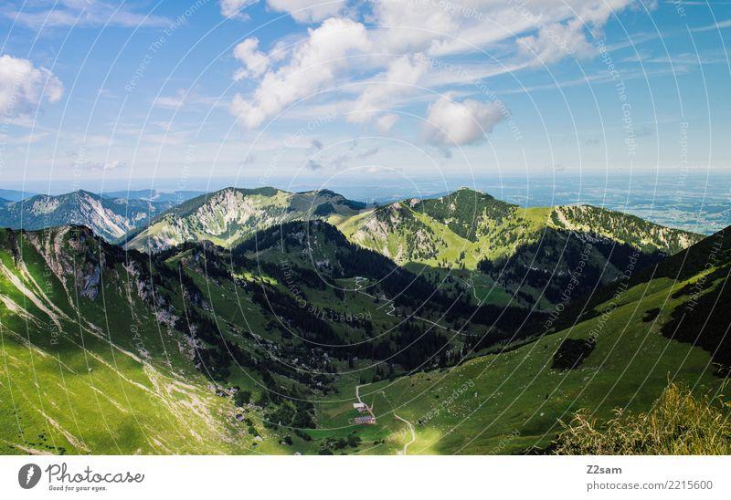 so schön is bei uns! Himmel Natur Sommer Farbe grün Landschaft Einsamkeit ruhig Ferne Berge u. Gebirge Umwelt natürlich wandern ästhetisch Idylle Perspektive