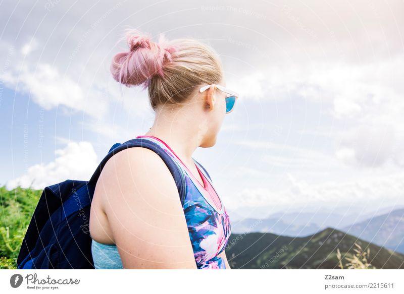 lady in pink Freizeit & Hobby Ferien & Urlaub & Reisen Ausflug Abenteuer Sommer wandern Junge Frau Jugendliche 18-30 Jahre Erwachsene Natur Landschaft Alpen