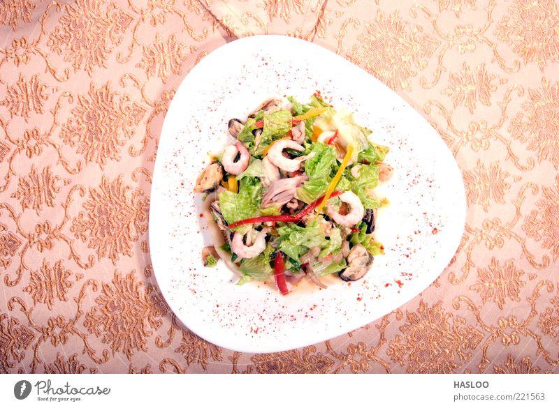 Salat aus Meeresfrüchten Lebensmittel Gemüse Abendessen Diät Reichtum Gesundheit Restaurant frisch lecker saftig gelb grün rot Appetit & Hunger Mahlzeit