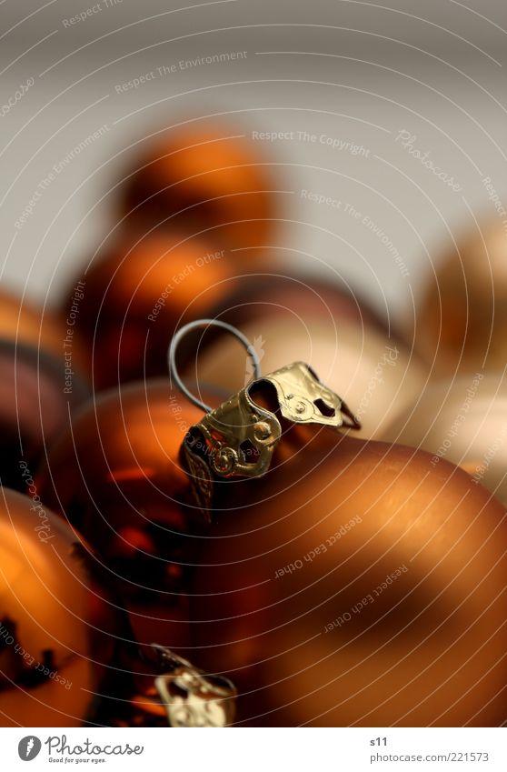 Weihnachtskugeln Dekoration & Verzierung Kitsch Krimskrams braun gold Weihnachtsdekoration Christbaumkugel rund Haken aufhängen schön Weihnachten & Advent