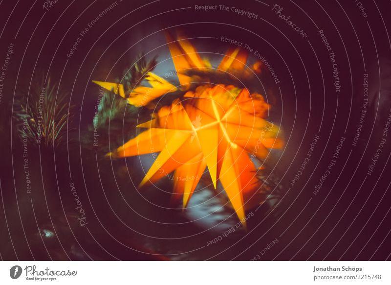leuchtender Adventsstern III abstrakt gelb schwarz Licht Weihnachten & Advent hell Dekoration & Verzierung rot Isoliert (Position) weiß Farbe orange