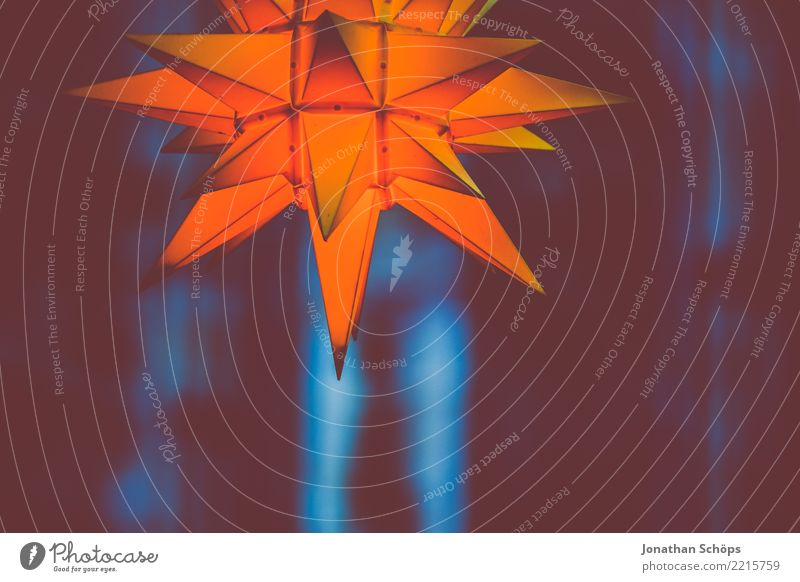 leuchtender Adventsstern V blau Weihnachten & Advent Farbe weiß rot Fenster schwarz Religion & Glaube gelb Beleuchtung Lampe Feste & Feiern hell