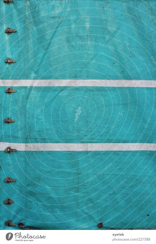 Plan = weiß grün Metall planen Sicherheit retro trist Güterverkehr & Logistik Schutz Streifen Lastwagen Dienstleistungsgewerbe Falte Kunststoff türkis Gewerbe