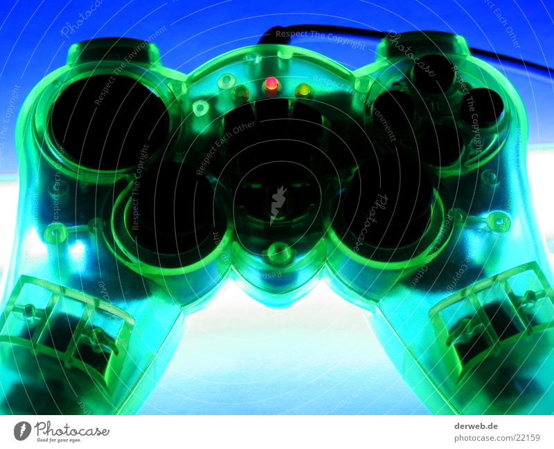 Controler grün Computerspiel Beleuchtung durchsichtig Entertainment Playstation giftgrün Joystick