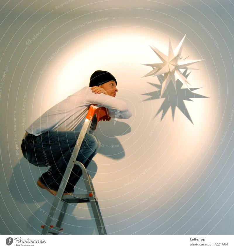bethlehem Lifestyle Feste & Feiern Mensch Mann Erwachsene Leben 1 träumen Weihnachtsstern Leiter Dekoration & Verzierung Weihnachtsdekoration heilig