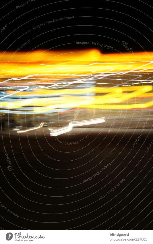 Speed Of Light Menschenleer Bewegung leuchten Geschwindigkeit blau gelb rot schwarz Linie Farbfoto Außenaufnahme Experiment abstrakt Licht Lichterscheinung