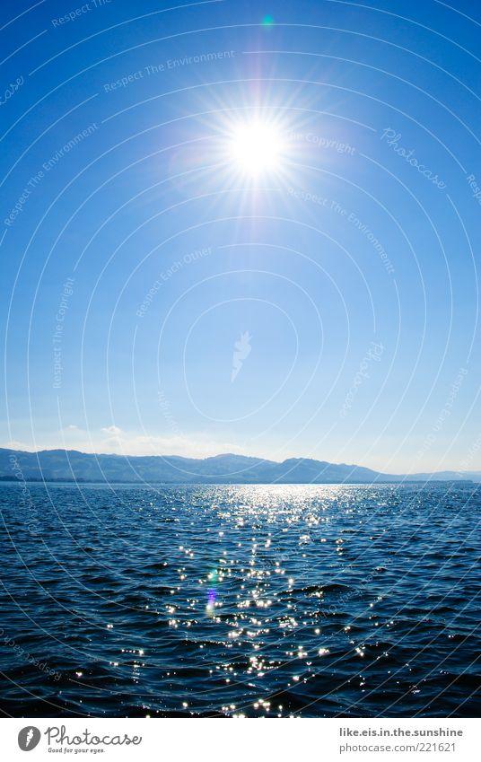 Sail away with me honey Wasser schön Sonne Meer blau Sommer Ferien & Urlaub & Reisen Ferne Erholung Berge u. Gebirge Freiheit See Landschaft Wellen glänzend Horizont
