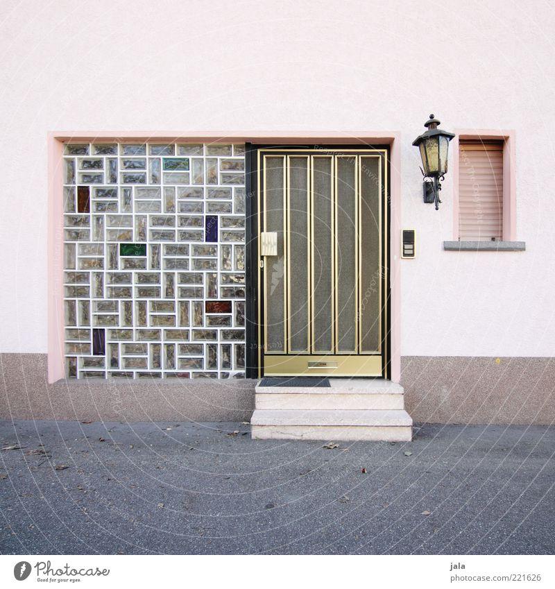eingang Haus Bauwerk Gebäude Mauer Wand Treppe Fassade Fenster Tür Laterne retro rosa Glasbaustein Fünfziger Jahre Sechziger Jahre Gold altehrwürdig Farbfoto