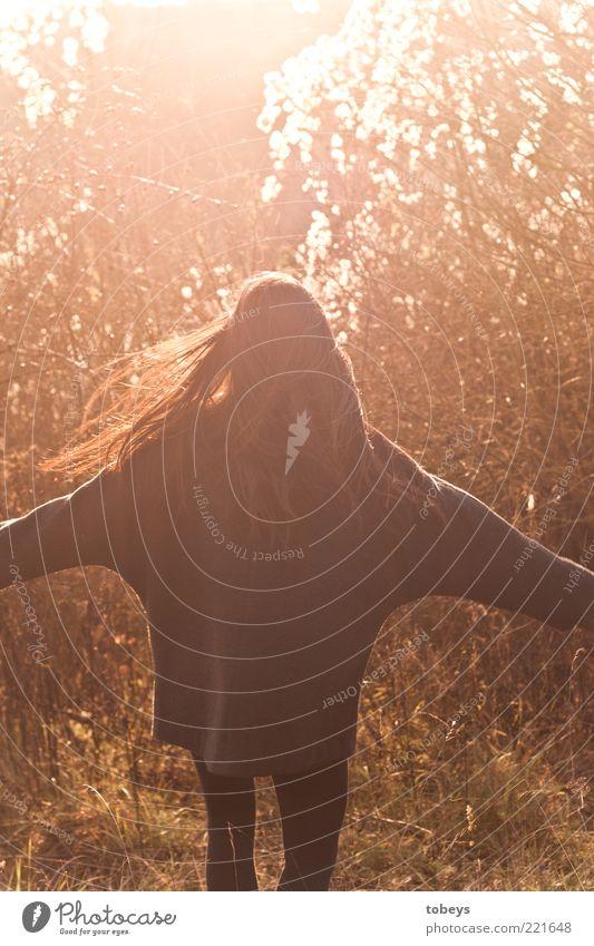 Herbstrascheln II Natur Jugendliche Mädchen Freude Herbst feminin Gras Bewegung Freiheit Landschaft Mode laufen Sträucher Freizeit & Hobby fantastisch Blühend