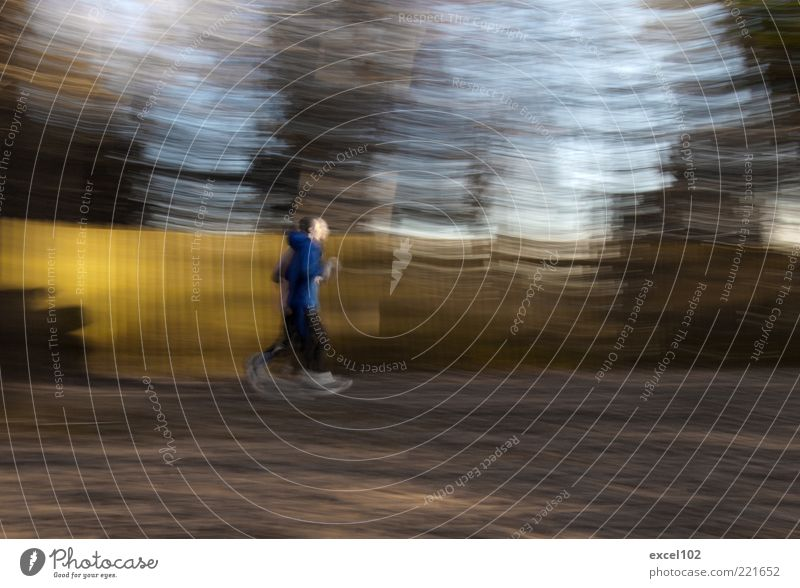 dusk RUN Sport Sportler Joggen Mensch 2 laufen Bewegung Geschwindigkeit Wellness Laufsport Bewegungsunschärfe Fitness Farbfoto Außenaufnahme Experiment
