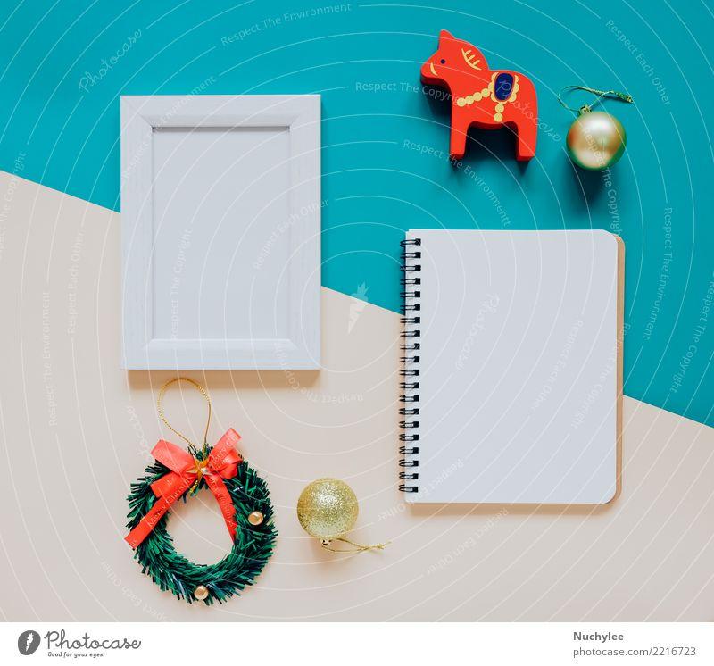 Kreative flache Lage von Handwerks- und Fotorahmen Weihnachten & Advent Winter Stil Glück Feste & Feiern Design hell modern Dekoration & Verzierung Aussicht