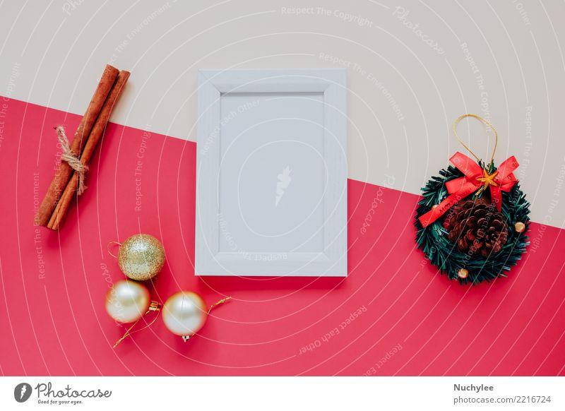 Fotorahmen Mock-up mit Weihnachtsschmuck Kräuter & Gewürze Stil Design Glück Winter Dekoration & Verzierung Feste & Feiern Weihnachten & Advent Handwerk PDA