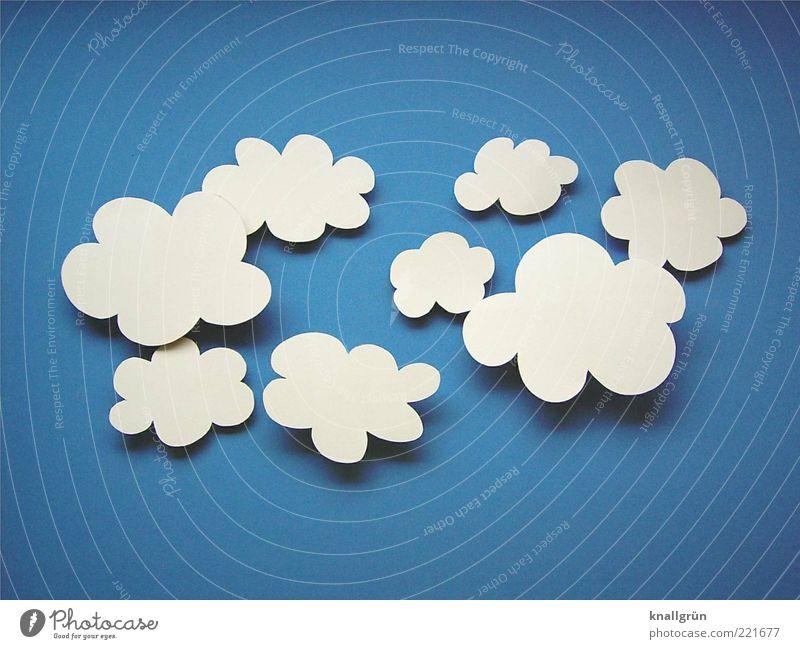 Schäfchenwolken Himmel weiß blau Wolken Luft Umwelt Papier falsch Blauer Himmel Wolkenhimmel Altokumulus floccus gebastelt