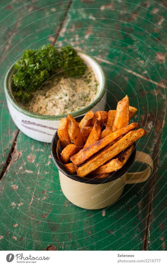 ofenfrisch Lebensmittel Gemüse Pommes frites Kartoffeln Kartoffelgerichte Petersilie Dip Ernährung Essen Bioprodukte Vegetarische Ernährung Fastfood Fingerfood