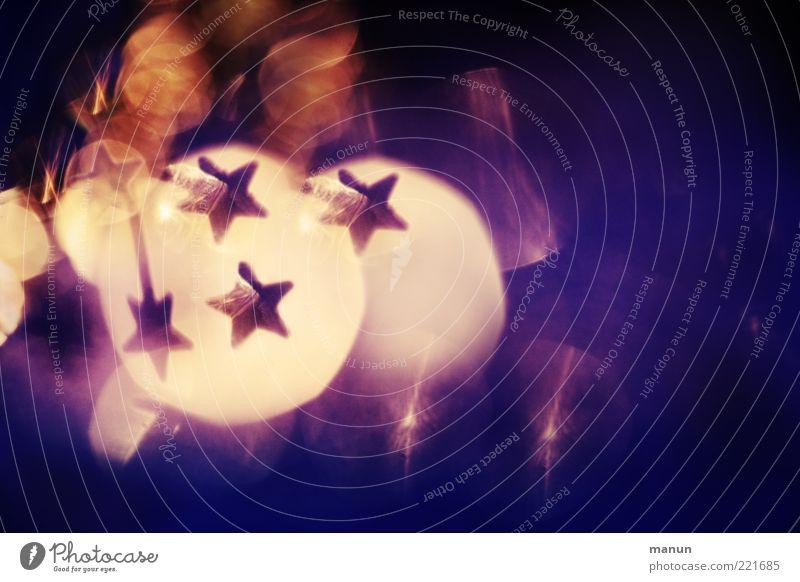 Blinker Feste & Feiern festlich Festbeleuchtung Stern (Symbol) Weihnachtsdekoration Zeichen glänzend Kitsch violett Vorfreude Farbfoto abstrakt Muster