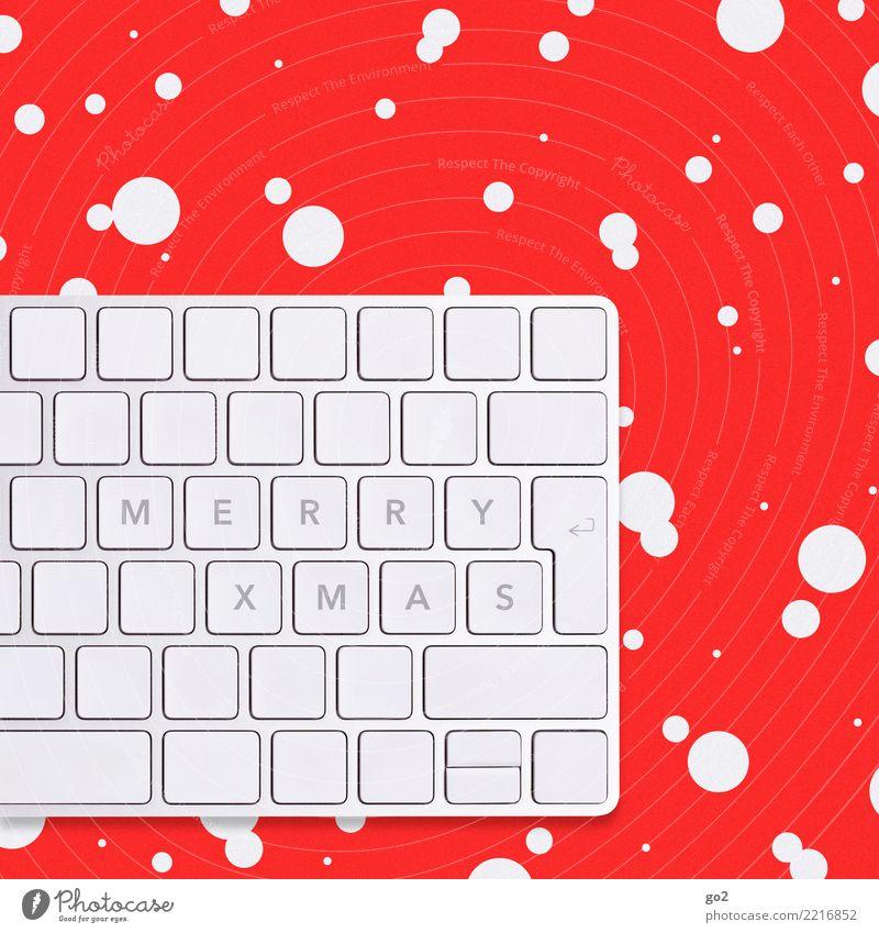 Merry Xmas Weihnachten & Advent Büroarbeit Arbeitsplatz Computer Tastatur Hardware Technik & Technologie Informationstechnologie Internet Winter Eis Frost