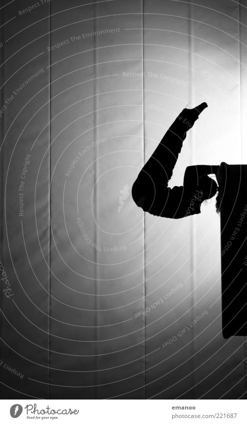 Silhouette 1 Mensch Jugendliche weiß schwarz Erwachsene Sport Bewegung Kraft Tanzen elegant hoch 18-30 Jahre einzigartig Junge Frau stark Fitness