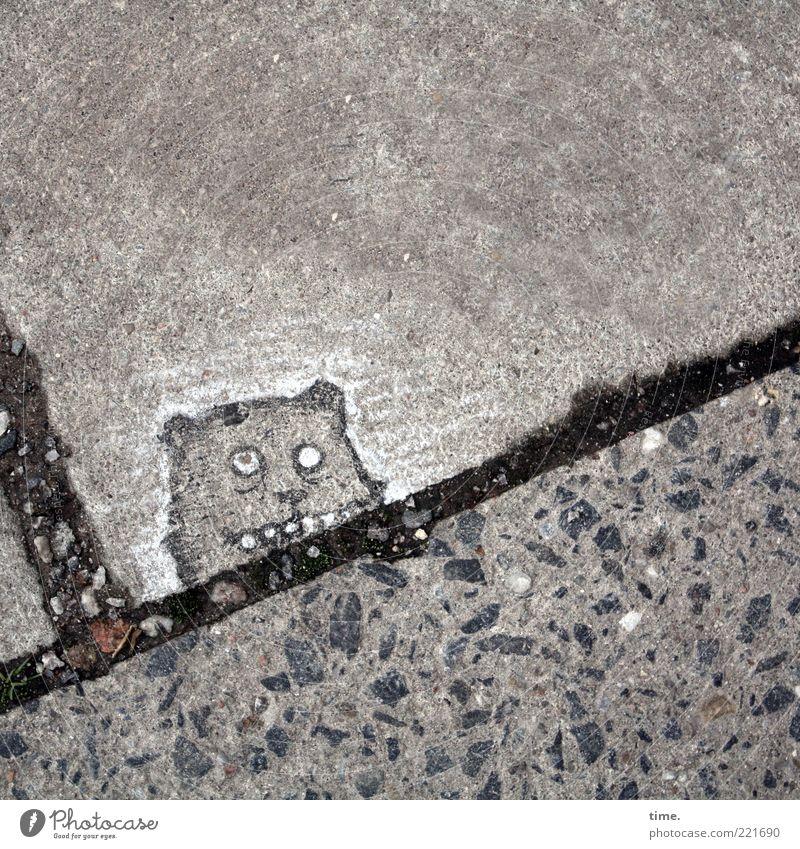 Gesichter der Stadt | Der Kobold von St. Pauli schwarz Tier Auge grau Stein Linie Kunst lustig Beton außergewöhnlich Bodenbelag niedlich Ohr Gebiss Kreativität Bürgersteig