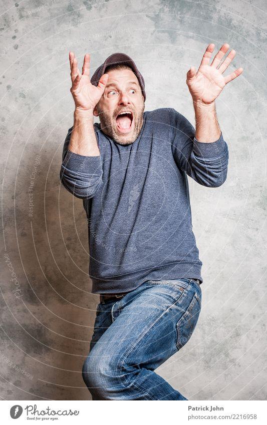 Schock! Mensch Mann Freude Erwachsene feminin Angst maskulin verrückt gefährlich Todesangst Zukunftsangst Flugangst Schmerz Stress gruselig Vater