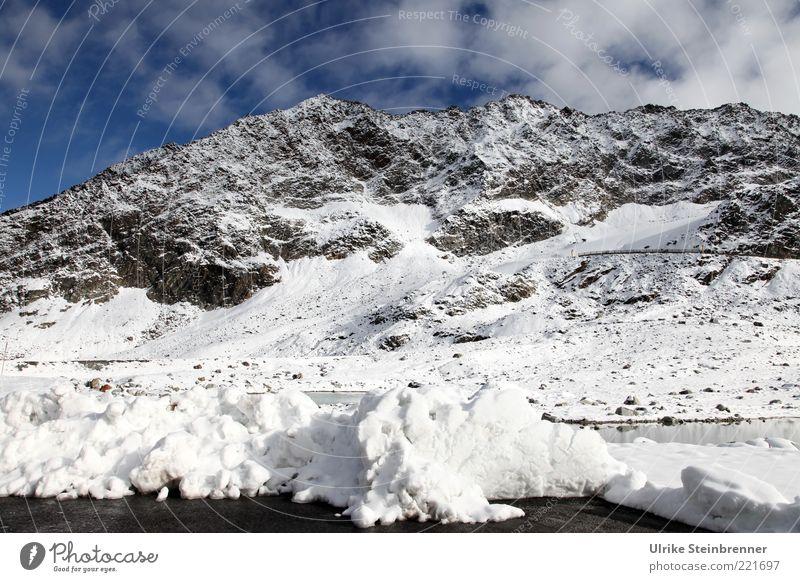 Frisch geschippt Natur Landschaft Wasser Himmel Sonnenlicht Schönes Wetter Schnee Felsen Alpen Berge u. Gebirge Ötztaler Alpen Rettenbachferner Gletscher See