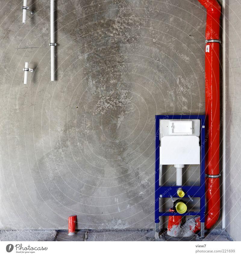 klo bau rot Wand grau Stein Mauer Linie Metall Wohnung Beton frisch Energiewirtschaft modern neu Bad authentisch einfach