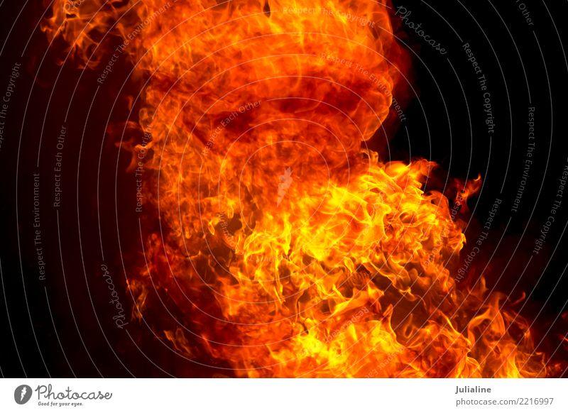rote Feuerflamme auf schwarzem Hintergrund Natur gelb Beleuchtung hell Energie Symbole & Metaphern Konsistenz Funken Verwirbelung Temperatur Großbrand