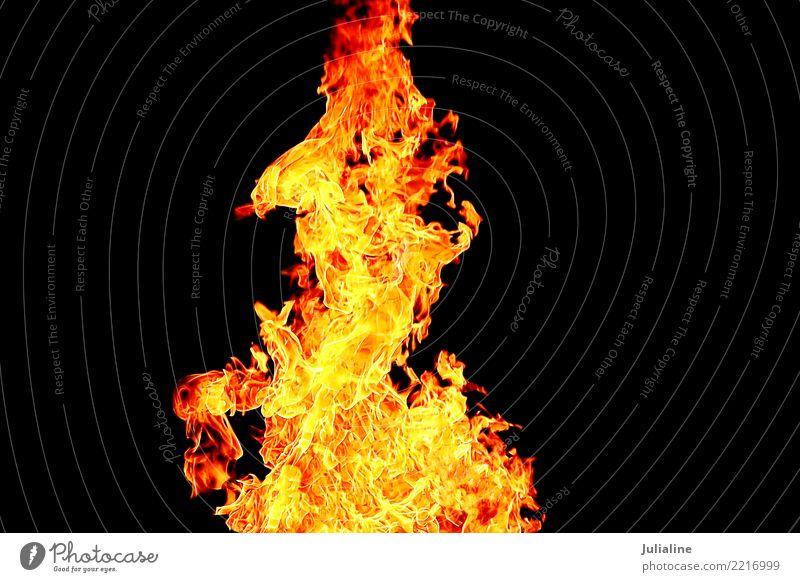 rote Flamme auf dem schwarzen Hintergrund Umwelt hell gelb Farbe Feuer erwärmen Brandwunde Großbrand orange verbrannt lodernd Hölle Gefahr glühend Licht