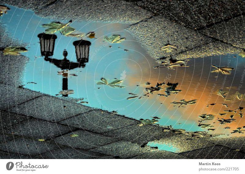 Leuchten Wetter Schönes Wetter Regen Blatt Stimmung Leben ästhetisch Pfütze azurblau orange Wolken Kandelaber Laterne Karl-Marx-Allee Frankfurter Tor