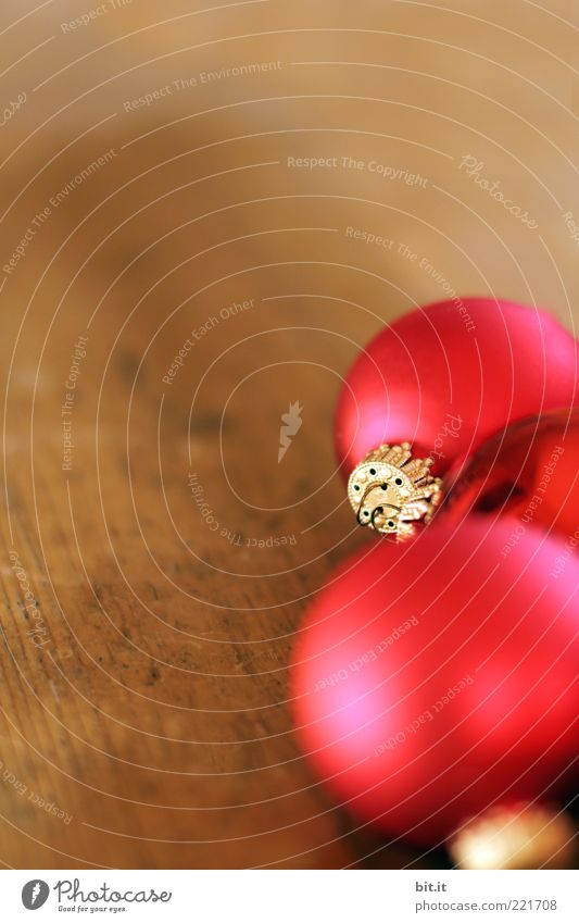 Weihnachtskugeln Häusliches Leben einrichten Feste & Feiern glänzend braun rot Stimmung Vorfreude Weihnachtsdekoration Kugel Christbaumkugel Holz Holzplatte