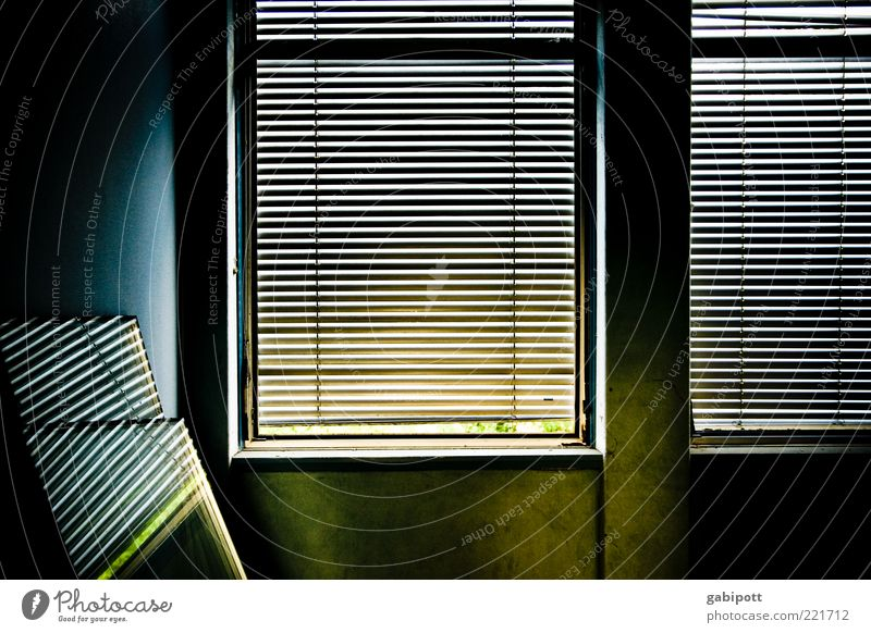 Window Color Gebäude Mauer Wand Fenster Jalousie Rollladen dunkel trashig trist blau gelb Verfall Vergangenheit Vergänglichkeit Wandel & Veränderung Zerstörung