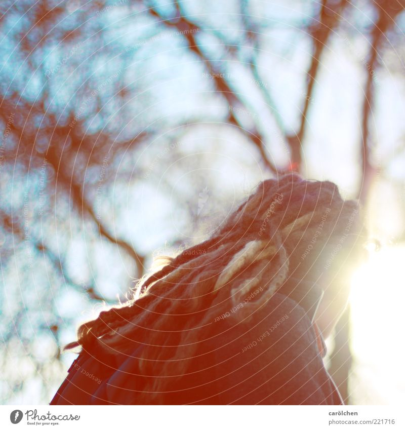 dreadlocks (LT Ulm 14.11.10) Mensch Frau Jugendliche blau rot Erwachsene gelb Haare & Frisuren gold Rücken 18-30 Jahre Junge Frau Zopf alternativ Rastalocken