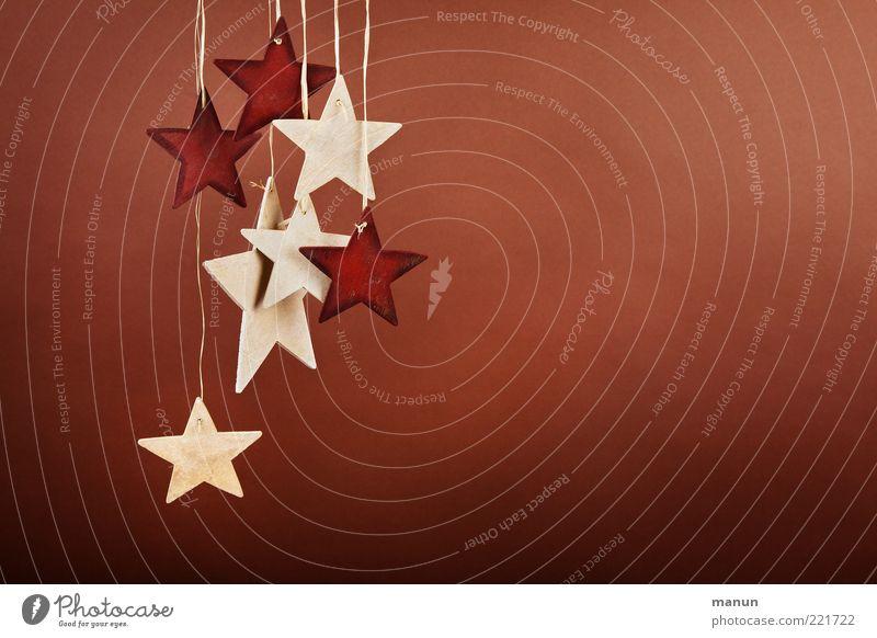 Holzsterne Weihnachten & Advent natürlich Feste & Feiern Dekoration & Verzierung einfach Stern (Symbol) Zeichen hängen Handel nachhaltig Vorfreude Nähgarn