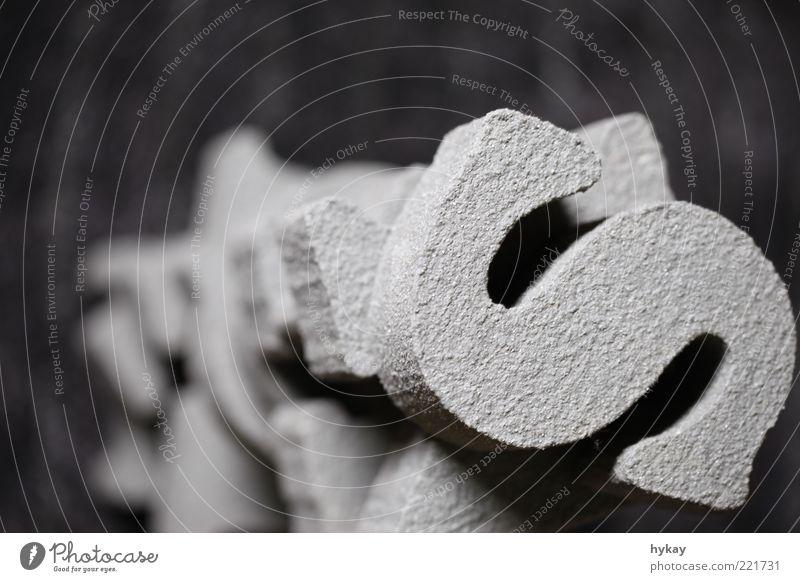 Styrocut grau Stein Sand Beton Schriftzeichen Turm Buchstaben fest Typographie Anhäufung Perspektive