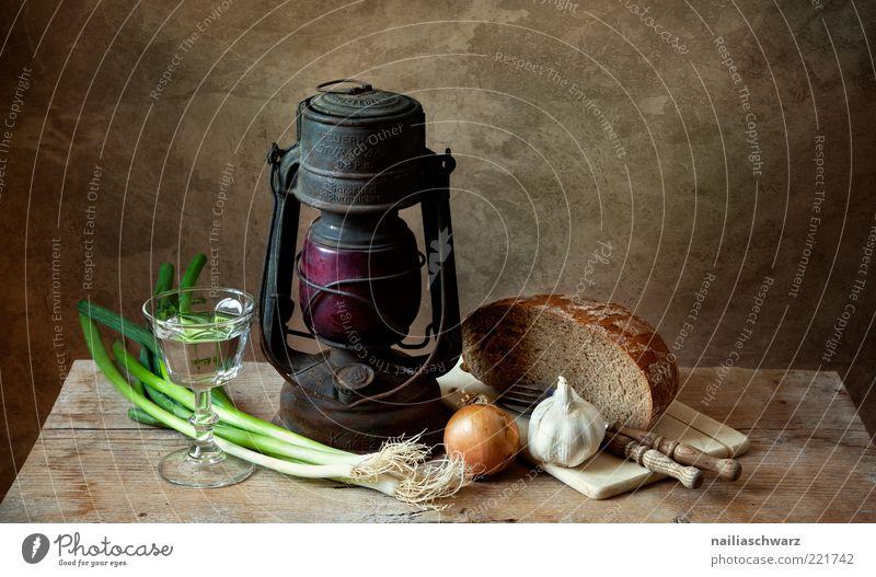 Stilleben alt Wasser grün Ernährung Lebensmittel Lampe Metall braun Glas Glas ästhetisch Tisch Häusliches Leben Dekoration & Verzierung Getränk Gemüse