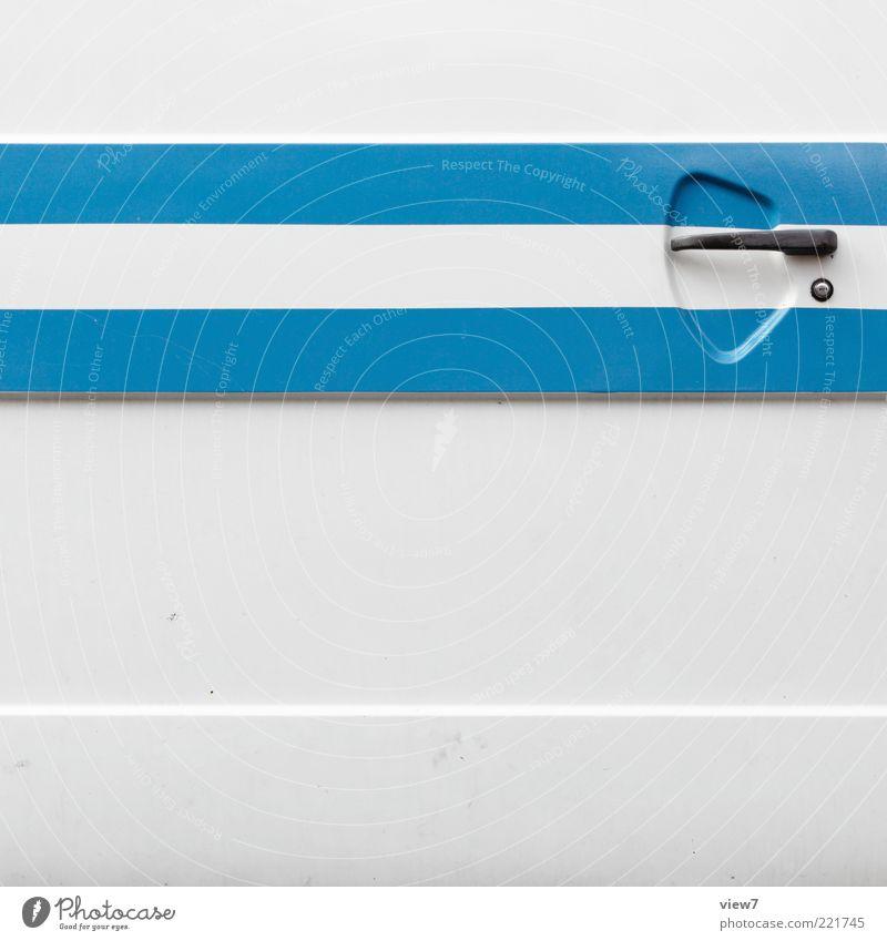 Schiebetür Fahrzeug Wohnmobil Bus Metall Zeichen Linie Streifen alt ästhetisch authentisch dünn einfach Freundlichkeit frisch modern neu retro Klischee blau