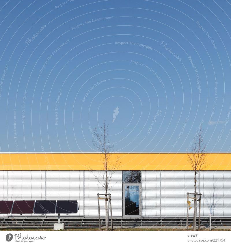 industries Baum Haus gelb Wand Fenster Herbst Stein Mauer Metall Linie Glas elegant Fassade modern ästhetisch Energiewirtschaft