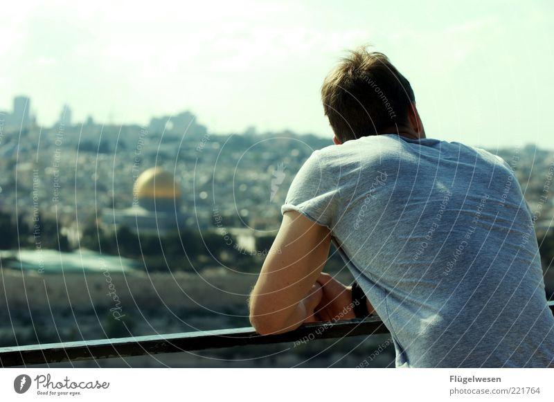 Nahostkonflikt aus der Ferne Ferien & Urlaub & Reisen Landschaft Freiheit Kopf Aussicht Ausflug beobachten Schönes Wetter Frieden Sehenswürdigkeit Krieg Israel