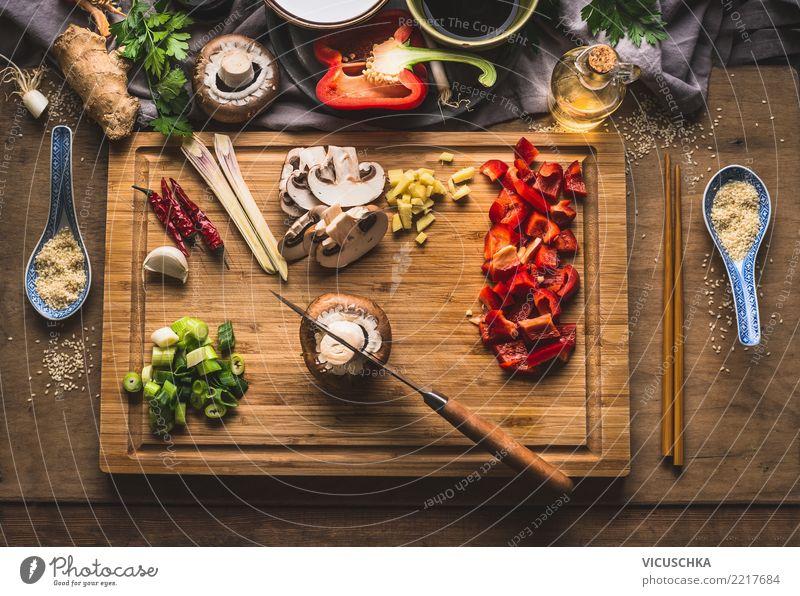 Gehackte Gemüse Zutaten für asiatische Speise Lebensmittel Ernährung Bioprodukte Vegetarische Ernährung Diät Asiatische Küche Stil Design Gesunde Ernährung