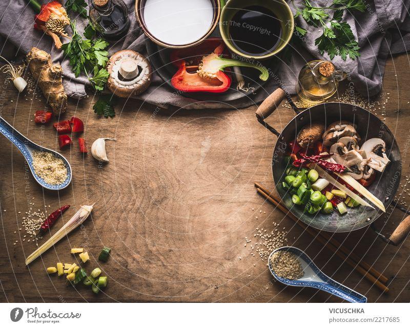Asiatische Kochzutaten für Bratgemüse, vegetarisch Gesunde Ernährung Speise Hintergrundbild Stil Lebensmittel Design Kräuter & Gewürze Küche Gemüse Restaurant