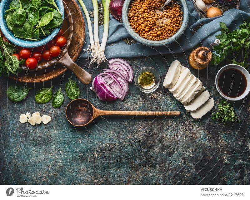 Vegetarische Zutaten für Linsengerichte Gesunde Ernährung Foodfotografie Essen Hintergrundbild Stil Lebensmittel Design Häusliches Leben Tisch Kräuter & Gewürze