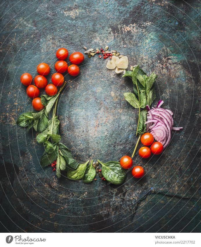 Runde Rahmen mit Kochzutaten Lebensmittel Gemüse Kräuter & Gewürze Ernährung Bioprodukte Vegetarische Ernährung Diät Stil Design Gesunde Ernährung Restaurant
