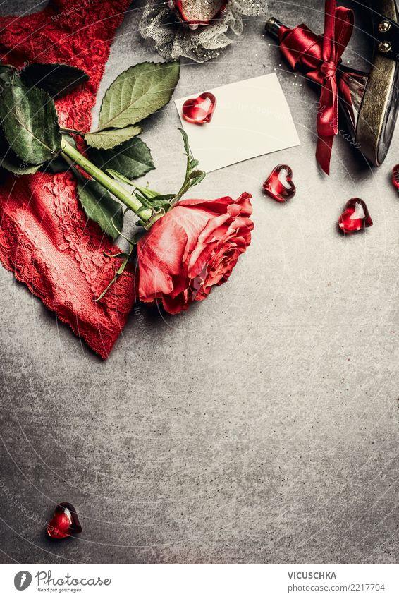 Valentinstag Grußkarte mock up Blume rot Hintergrundbild Liebe Stil Feste & Feiern Stimmung Design retro Dekoration & Verzierung Fröhlichkeit Herz Romantik
