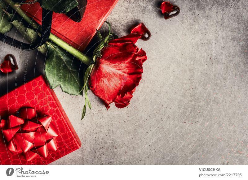 Valentinstag Grußkarte Stil Design Feste & Feiern Blume Rose Dekoration & Verzierung Blumenstrauß Zeichen Liebe rosa Hintergrundbild Symbole & Metaphern rot